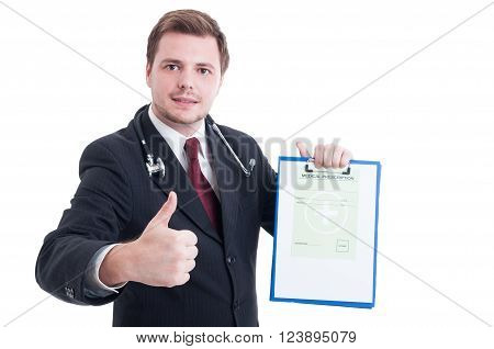 Medic Or Doctor Holding Medical Prescription And Showing Like