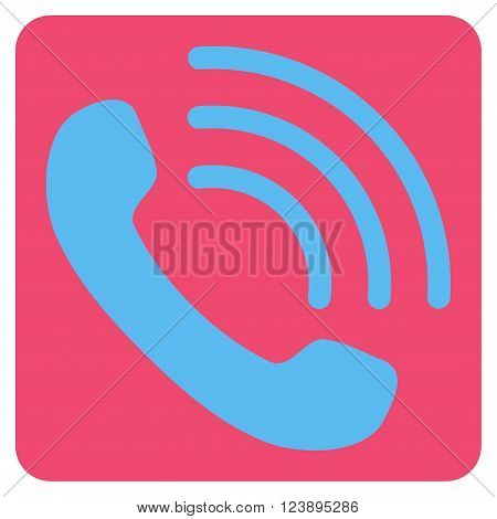 Phone Call vector icon. Image style is bicolor flat phone call icon symbol drawn on a rounded square with pink and blue colors.