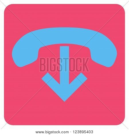 Phone Hang Up vector icon. Image style is bicolor flat phone hang up iconic symbol drawn on a rounded square with pink and blue colors.
