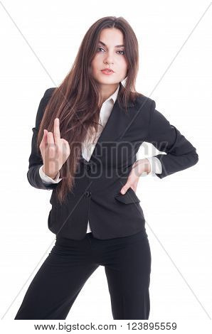 Arrogant Business Woman Showing Obscene Insulting Middle Finger Gesture