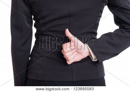 Business Woman Hand Showing Like Behind Back