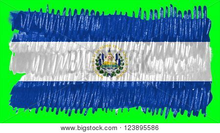 Flag of El Salvador painted with brush on solid background, ink texture.