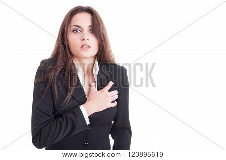 Business Woman Having A Heart Attack Or Cardiac Arrest