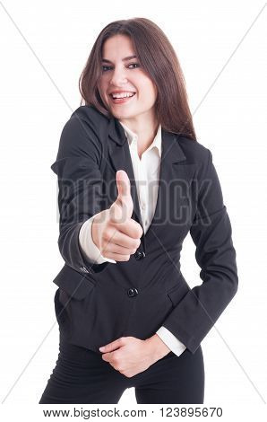Happy Smiling Business Woman Showing Like Gesture