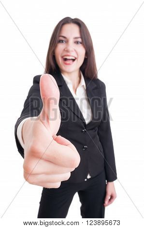 Business Woman Showing Like Gesture With Selective Focus On Hand