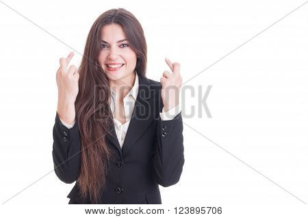 Business Woman Making Good Luck Gesture By Crossing Fingers