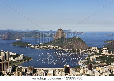 Day view of Sugar Loaf mountain and Guanabara Bay in Rio de Janeiro, Brazil. ** Note: Visible grain at 100%, best at smaller sizes