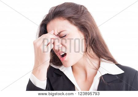 Business Woman Having A Painful Migraine After Stress
