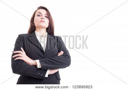 Hero Shot Of Young Confident Business Woman With Arms Crossed