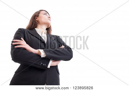 Young Business Woman With Arms Crossed Looking Up