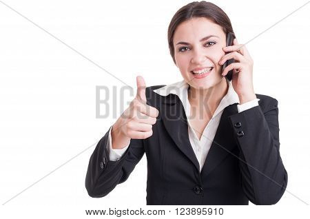 Smiling Happy Business Woman Showing Like Or Thumb-up Gesture