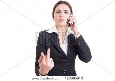 Arrogant And Bossy Business Woman Showing Obscene Insulting Middle Finger