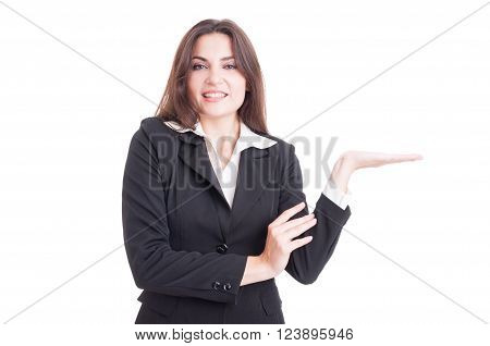 Beautiful Young Business Woman Holding Nothing On Palm