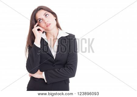 Young Business Woman Thinking And Wondering