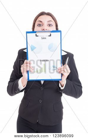 Funny Sales Woman Holding Clipboard With Financial Charts
