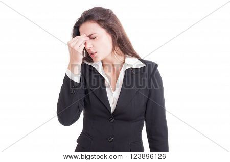 Female Financial Manager Having A Painful Migraine After Stress