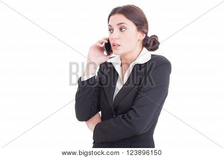 Surprised Young Business Woman Having A Phone Conversation