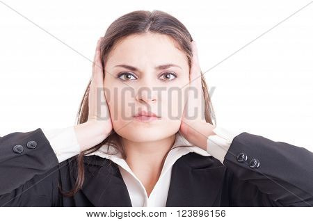 Business Woman, Inspector, Auditor Or Supervisor Woman Covering Ears