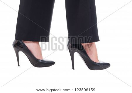Business Woman Feet Wearing Black Leather Shoes With High Heels