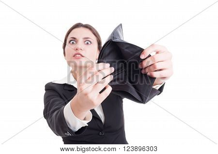 Desperate Business Woman Showing Empty Wallet