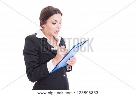 Busy Woman Supervisor Writing On Clipboard