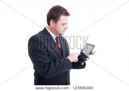 E-commerce, E-banking Concept With Businessman Holding Tablet And Credit Card