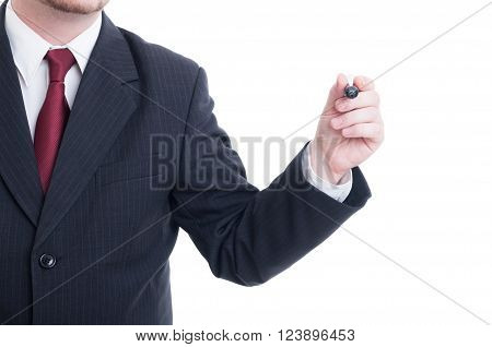 Businessman Hand Holding Marker On White Copy Space