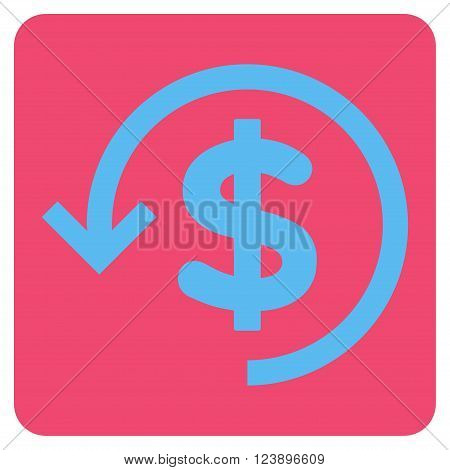 Refund vector icon. Image style is bicolor flat refund pictogram symbol drawn on a rounded square with pink and blue colors.