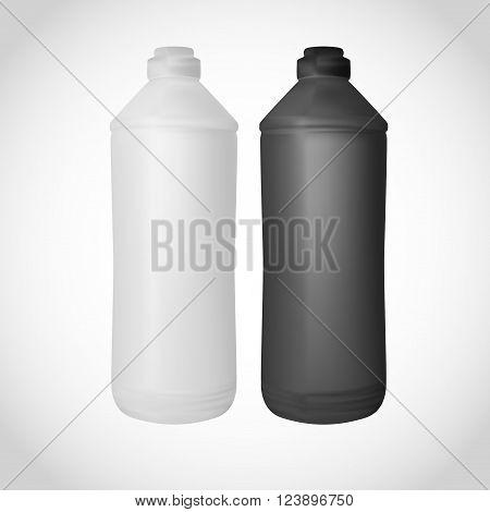 White And Black Plastic Bottle For Packaging Design.