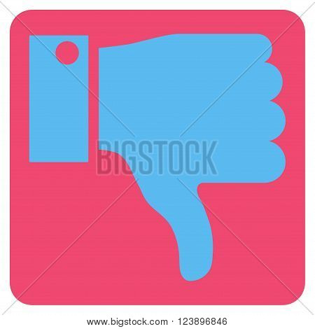 Thumb Down vector symbol. Image style is bicolor flat thumb down iconic symbol drawn on a rounded square with pink and blue colors.