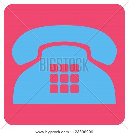 Tone Phone vector icon symbol. Image style is bicolor flat tone phone iconic symbol drawn on a rounded square with pink and blue colors.