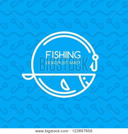 Linear Fish And Fishing Rod On Blue Seamless Pattern With Hooks And Water Waves.