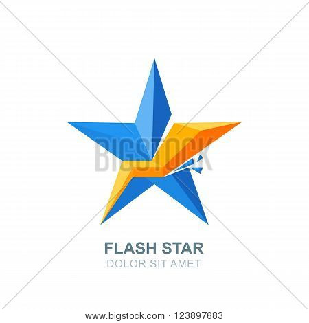 Abstract Vector Logo, Emblem With Blue Crashed Star And Lightning.