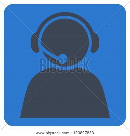 Call Center Operator vector icon. Image style is bicolor flat call center operator iconic symbol drawn on a rounded square with smooth blue colors.