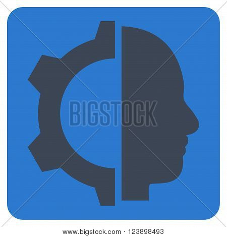 Cyborg Gear vector symbol. Image style is bicolor flat cyborg gear pictogram symbol drawn on a rounded square with smooth blue colors.