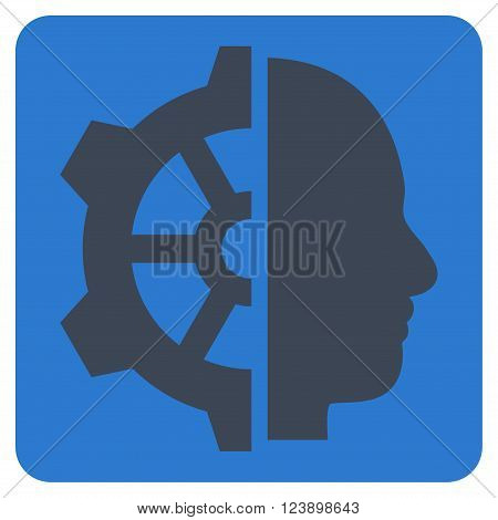 Cyborg Gear vector icon symbol. Image style is bicolor flat cyborg gear icon symbol drawn on a rounded square with smooth blue colors.