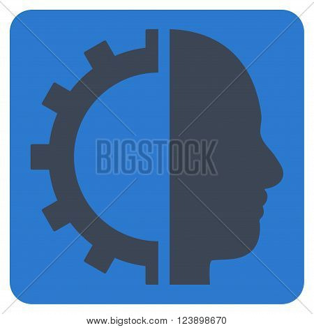Cyborg Gear vector icon symbol. Image style is bicolor flat cyborg gear iconic symbol drawn on a rounded square with smooth blue colors.