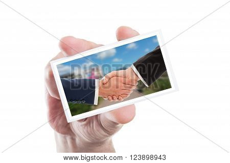 Real Estate Sale Handshake On Paper Card