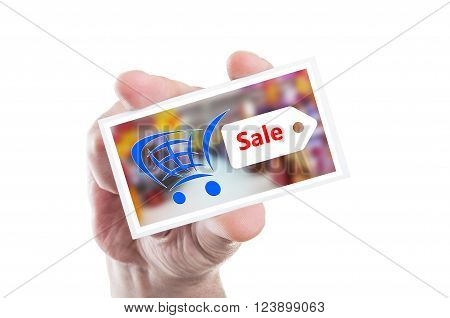 Hand Holding Shopping Sale Card