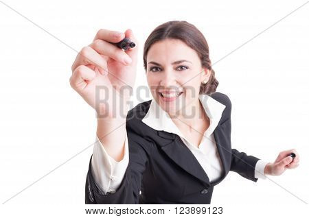 Smiling Business Woman Writing With Black Marker On Transparent Board
