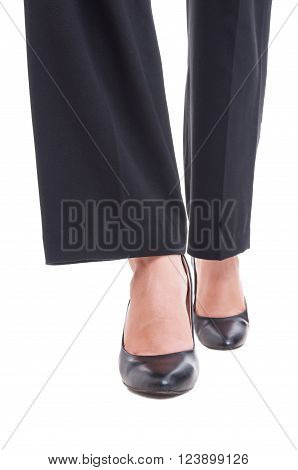 Close-up Of Business Woman Feet Wearing Black Shoes Walking