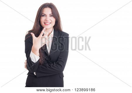 Young Business Female Showing Number Five With Fingers