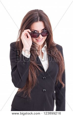 Young Sexy And Beautiful Business Woman Looking Over Shades