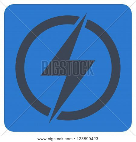 Electricity vector icon symbol. Image style is bicolor flat electricity pictogram symbol drawn on a rounded square with smooth blue colors.
