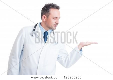 Doctor Wearing White Robe Holding Nothing On Palm