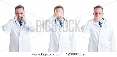 Medic or doctor in three stances blind mute and deaf in wide image isolated on white background