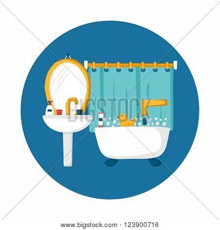 Cute cartoon bathroom concept: bath duck toothpaste sink creams mirror. Indoor house concept. Bath things design