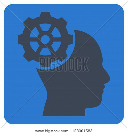 Head Gear vector symbol. Image style is bicolor flat head gear iconic symbol drawn on a rounded square with smooth blue colors.