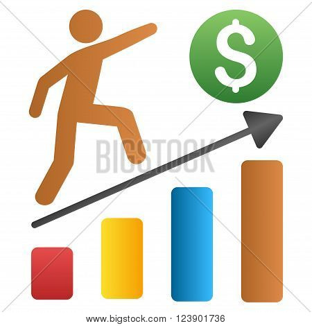 Businessman Growth Chart vector toolbar icon for software design. Style is a gradient icon symbol on a white background.