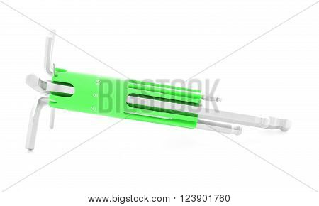 Hexagonal key metal tool for screw isolated on white background